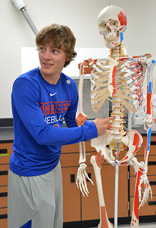 student with skeleton